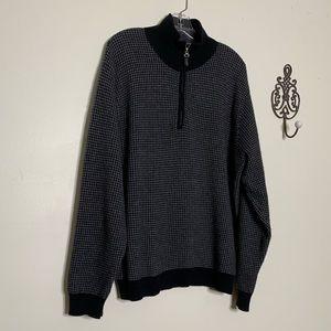 Alan Flusser Cashmere Hounds Tooth ¼ Zip Sweater S